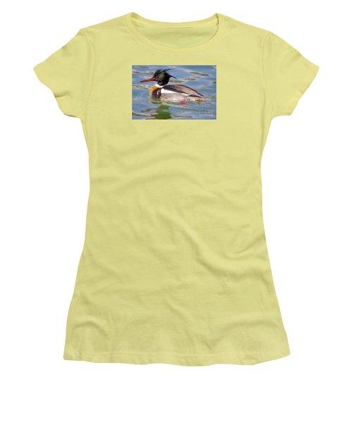 Red-breasted Merganser Women's T-Shirt (Junior Cut) by Ricky L Jones