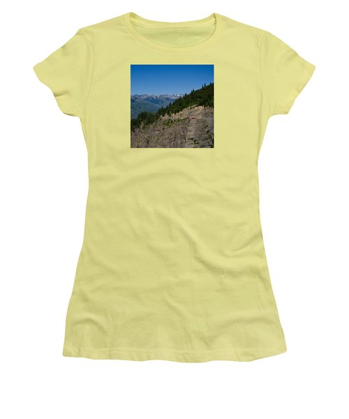 Red Buses, Glacier National Park Women's T-Shirt (Athletic Fit)