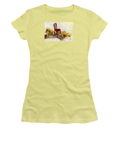 Red Chair And Yellow Leaves Women's T-Shirt (Junior Cut) by Debra Baldwin