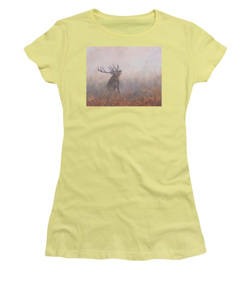 Women's T-Shirt (Junior Cut) featuring the painting Red Deer Stag Early Morning by David Stribbling