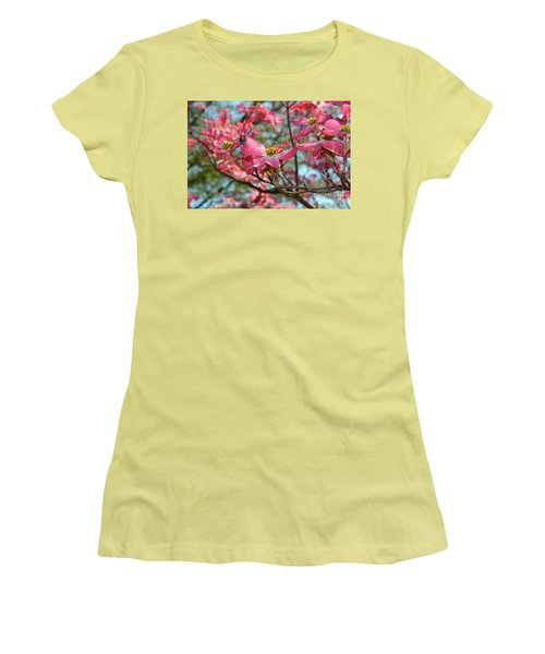 Red Dogwood Flowers Women's T-Shirt (Athletic Fit)