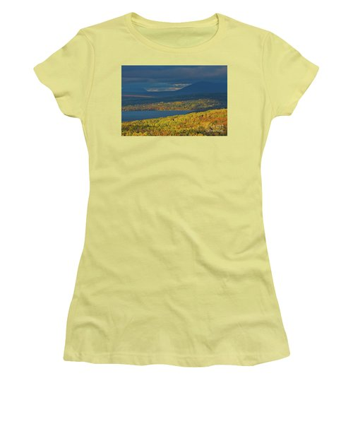 Red Farm House In Evening Light Women's T-Shirt (Junior Cut) by Alana Ranney