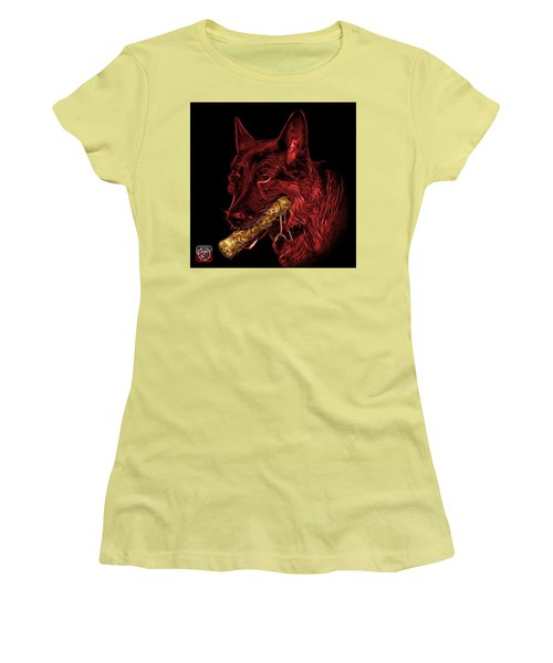 Red German Shepherd And Toy - 0745 F Women's T-Shirt (Junior Cut) by James Ahn