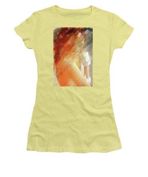 Red Head Drinking Coffee Women's T-Shirt (Junior Cut) by Andrea Barbieri