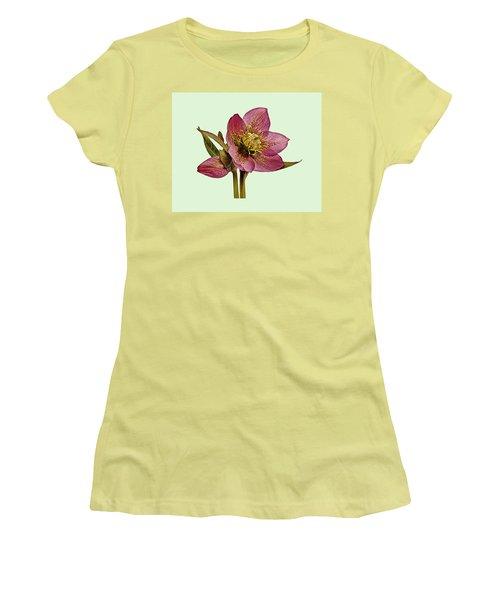 Red Hellebore Green Background Women's T-Shirt (Junior Cut) by Paul Gulliver