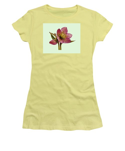 Red Hellebore Green Background Women's T-Shirt (Athletic Fit)