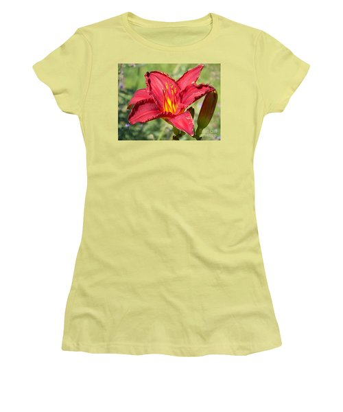 Women's T-Shirt (Junior Cut) featuring the photograph Red Flower by Eunice Miller