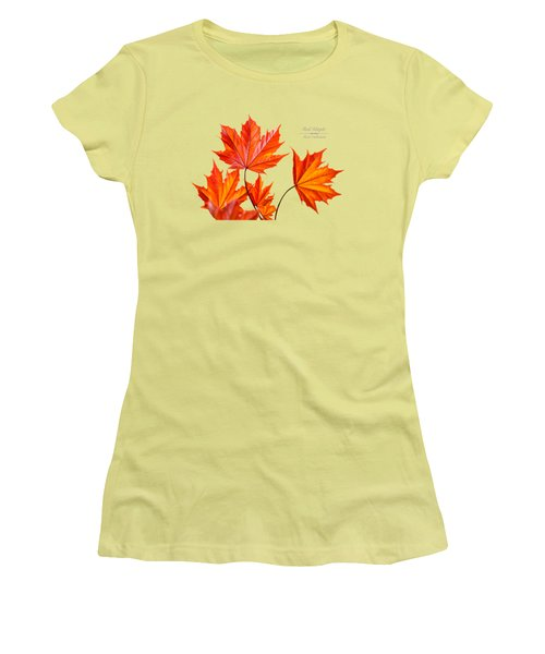 Red Maple Women's T-Shirt (Junior Cut) by Christina Rollo