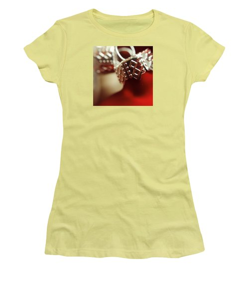 Red Ornament Women's T-Shirt (Junior Cut) by Bonnie Bruno