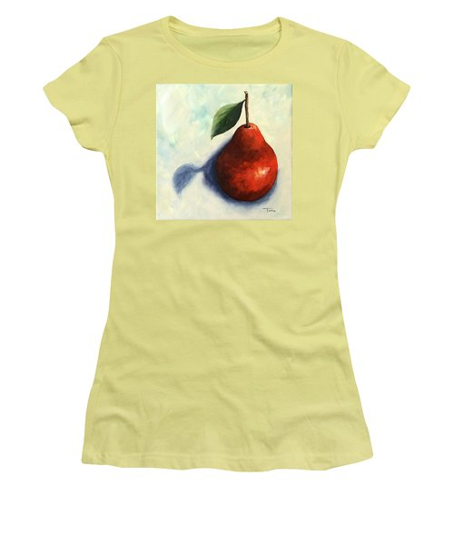 Red Pear In The Spotlight Women's T-Shirt (Junior Cut) by Torrie Smiley