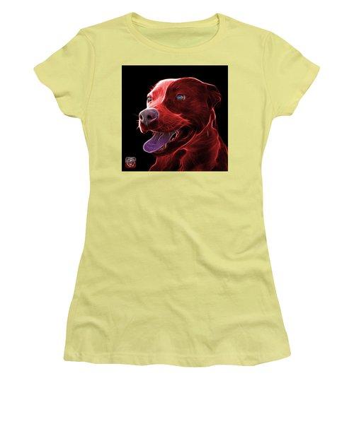 Red Pit Bull Fractal Pop Art - 7773 - F - Bb Women's T-Shirt (Junior Cut) by James Ahn