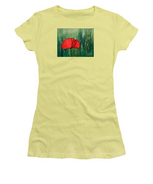 Women's T-Shirt (Junior Cut) featuring the photograph Red Poppy Flower by Jean Bernard Roussilhe