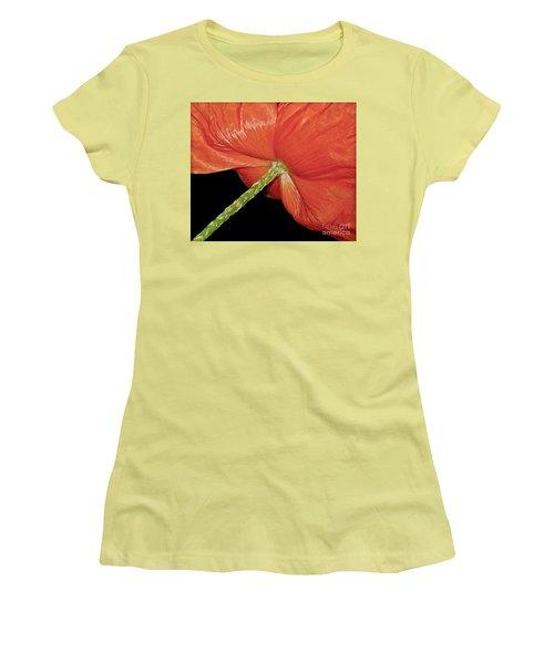 Red Poppy Flower On Black Background Women's T-Shirt (Junior Cut) by Carol F Austin