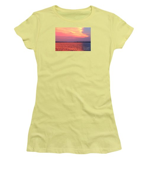 Women's T-Shirt (Junior Cut) featuring the photograph Red Reflection  by Yumi Johnson