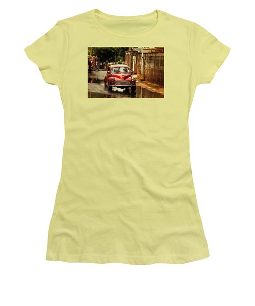 Red Retromobile. Morris Minor Women's T-Shirt (Junior Cut) by Jenny Rainbow