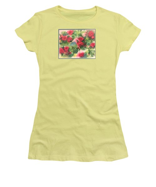 Red Roses Women's T-Shirt (Junior Cut) by Lucia Grilletto