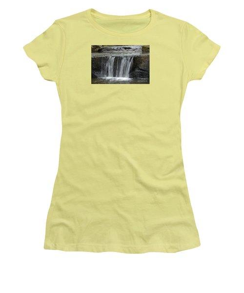 Women's T-Shirt (Junior Cut) featuring the photograph Red Run Waterfall by Randy Bodkins