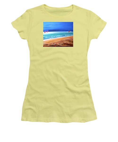 Women's T-Shirt (Junior Cut) featuring the painting Red Sails by Winsome Gunning
