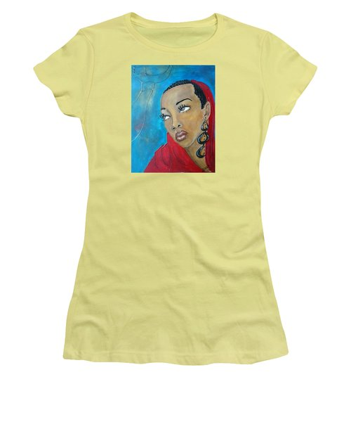 Red Scarf Women's T-Shirt (Junior Cut) by Jenny Pickens