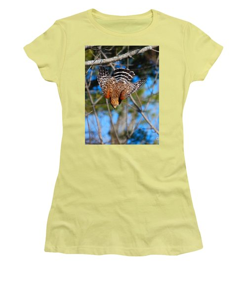 Women's T-Shirt (Athletic Fit) featuring the photograph Red-shouldered Hawk  by Debbie Stahre