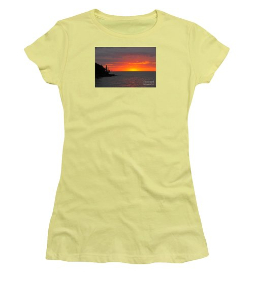 Women's T-Shirt (Junior Cut) featuring the photograph Red Sky In Morning by Sandra Updyke