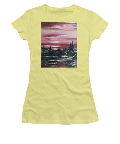 Red Sun Set  Women's T-Shirt (Junior Cut) by Laila Awad Jamaleldin
