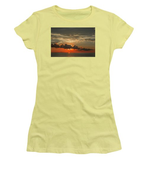 Red Sunset And Dark Clouds Above Sea Women's T-Shirt (Athletic Fit)