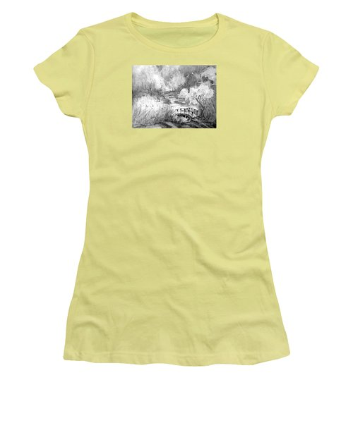 Women's T-Shirt (Junior Cut) featuring the painting Red Top Mountain Bridge In Black And White by Gretchen Allen