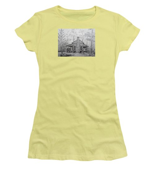 Red Top Mountain's Log Cabin Women's T-Shirt (Athletic Fit)