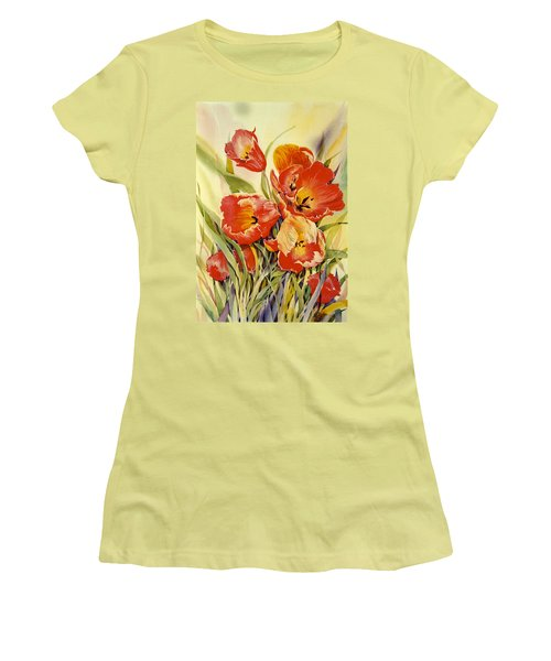 Red Tulips In My Garden Women's T-Shirt (Athletic Fit)