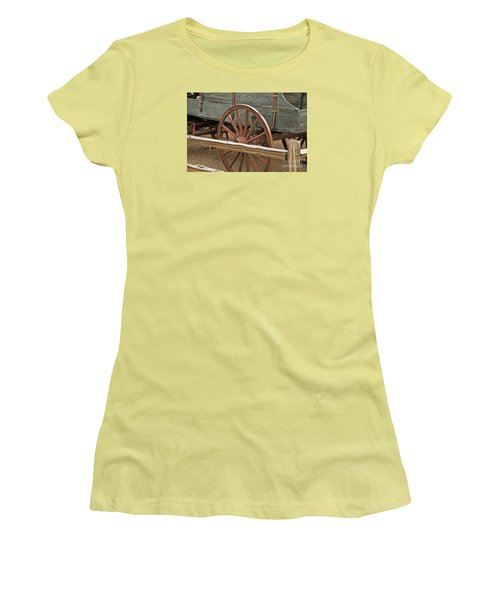 Women's T-Shirt (Junior Cut) featuring the photograph Red Wagon Wheel by Kirt Tisdale
