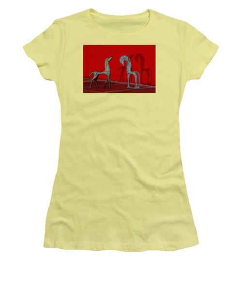 Red Wall Horse Statues Women's T-Shirt (Athletic Fit)
