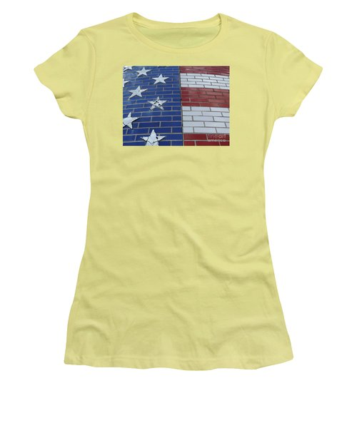 Red White And Blue On Brick Women's T-Shirt (Athletic Fit)