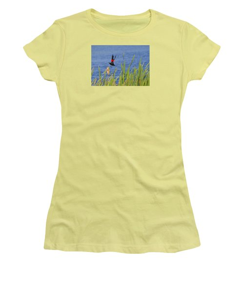 Red Wing Bow Women's T-Shirt (Junior Cut) by Shelly Gunderson