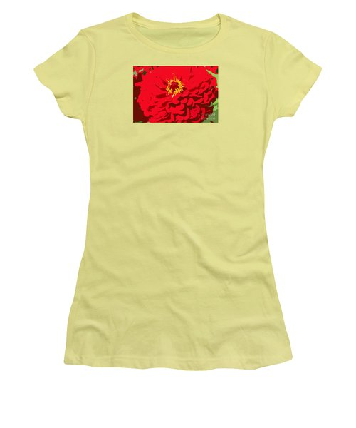 Women's T-Shirt (Junior Cut) featuring the photograph Red Zinnia by Jeanette French