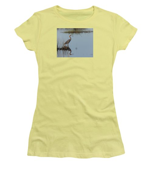 Reddish Egret And Reflection In The Morning Light Women's T-Shirt (Athletic Fit)