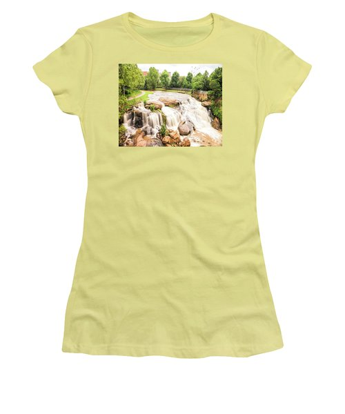 Women's T-Shirt (Athletic Fit) featuring the photograph Reedy River Falls Greenville Sc by Bellesouth Studio