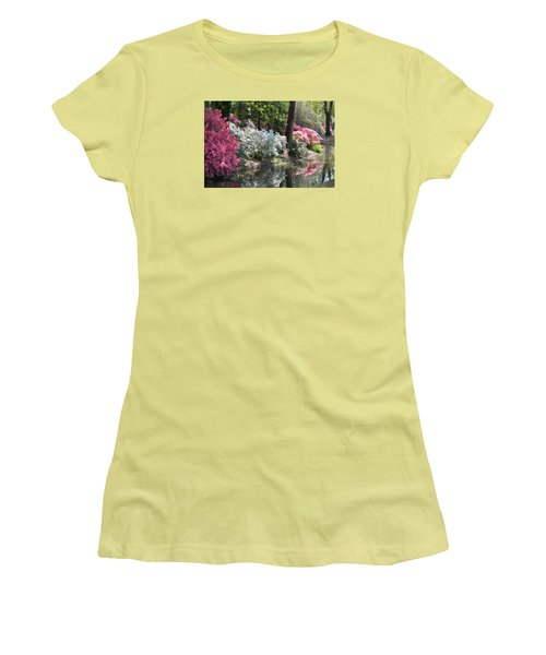 Women's T-Shirt (Junior Cut) featuring the photograph Reflecting Azaleas by Linda Geiger