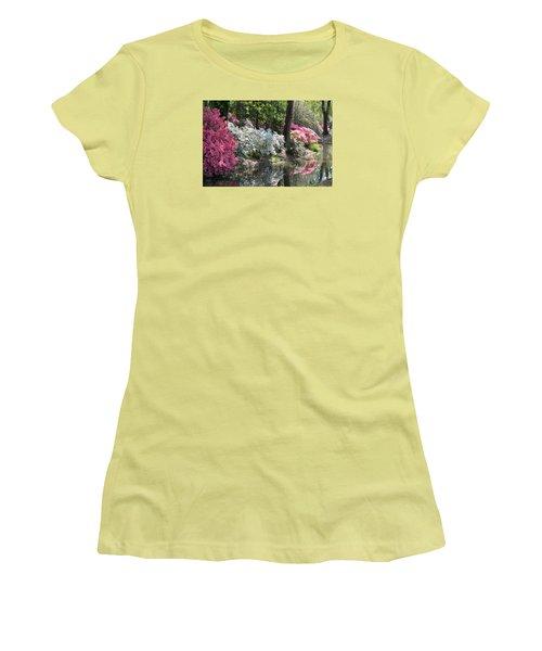 Reflecting Azaleas Women's T-Shirt (Junior Cut) by Linda Geiger