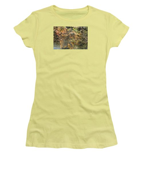 Women's T-Shirt (Junior Cut) featuring the photograph Reflecting Gold by Linda Geiger