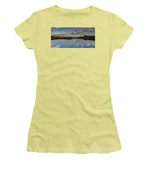 Women's T-Shirt (Junior Cut) featuring the photograph Reflection In A Mountain Pond by Don Schwartz
