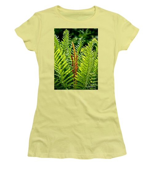 Refreshing Green Fern Wall Art Women's T-Shirt (Athletic Fit)