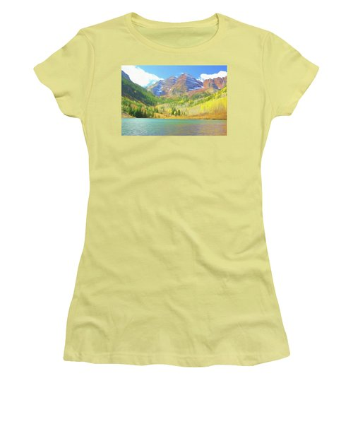 Women's T-Shirt (Junior Cut) featuring the photograph The Maroon Bells Reimagined 1 by Eric Glaser