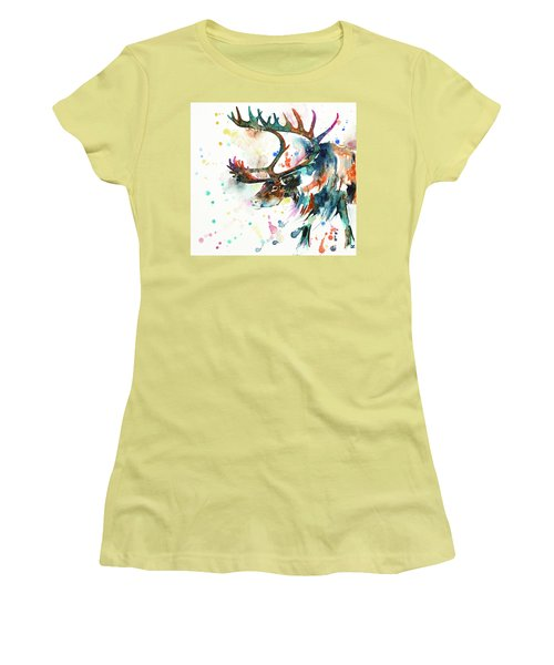 Women's T-Shirt (Athletic Fit) featuring the painting Reindeer by Zaira Dzhaubaeva