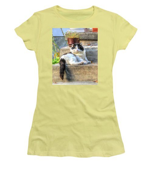 Relaxing On The Stairs Women's T-Shirt (Athletic Fit)