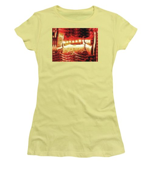 Women's T-Shirt (Junior Cut) featuring the digital art Reservations - Row C by Wendy J St Christopher