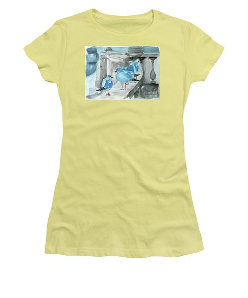 Women's T-Shirt (Junior Cut) featuring the painting Rest By The Sea by Jasna Dragun