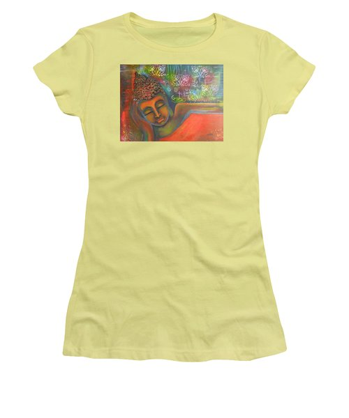 Buddha Resting Against A Colorful Backdrop Women's T-Shirt (Junior Cut) by Prerna Poojara