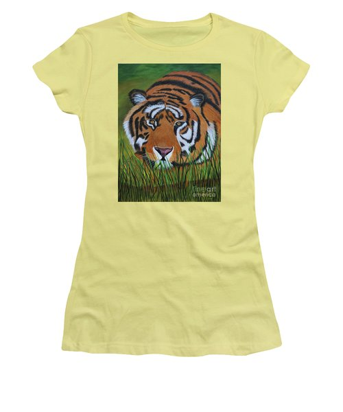 Women's T-Shirt (Junior Cut) featuring the painting Resting Tiger  by Myrna Walsh