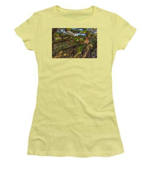 Women's T-Shirt (Junior Cut) featuring the photograph Resurrection Fern Dons Angel Oak by Patricia Schaefer